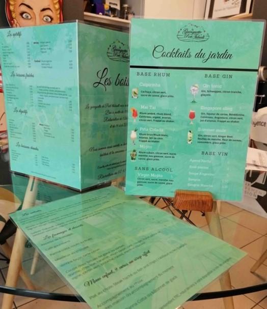 menu plastifié
