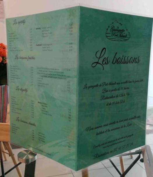 menu plastifié restaurant