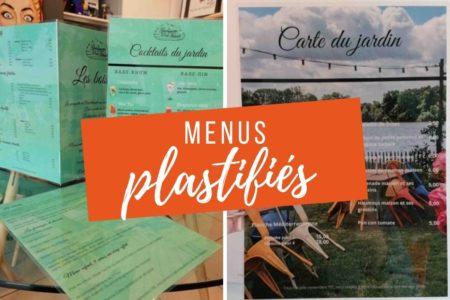 menus plastifiés